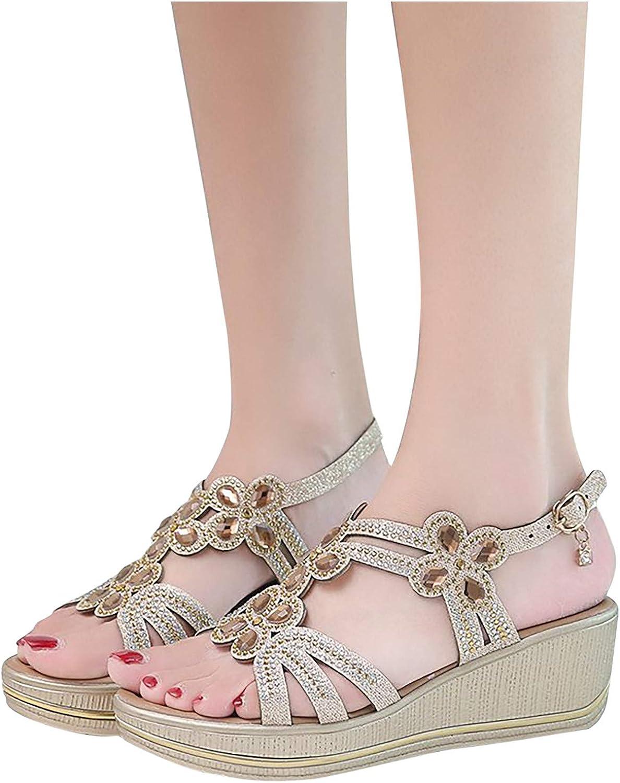 Hemlock Women Flat Sandals Rhinestone Straps Sandals Slip On Shoes Summer Open Toes Sandals Casual Beach Shoes