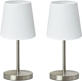 "Trango 2 pack lampe de table Lampe de chevet lampe de bureau Lampe""Whitney"" avec abat-jour en tissu en blanc 2TG2017-09W -..."