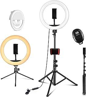 """PEHESHE Ring-Selfie-LED-Leuchte 10"""" mit 63""""-Stativ-Selfie-Leuchte mitTelefonHalterung Ring dimmbareRundleuchtefür Live-Str..."""