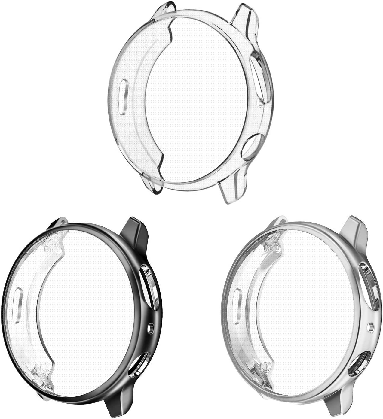 3 Pack - Fintie Case Compatible with Galaxy Watch Active2, Soft TPU Bumper Full Around Screen Protector Cover for Samsung Galaxy Watch Active 2 44mm, Black, Silver, Clear