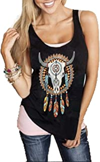 Cami Summer Tank Top Women Feather Sleeveless Shirts Blouse Loose Casual T-Shirts Tops Tshirt Teens (Color : Black-Bull He...