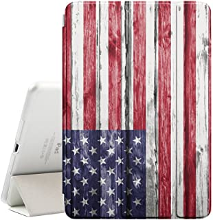 FJCases United States American USA Wood Pattern Flag Smart Cover Stand + Back Case with Auto Sleep/Wake Function for Apple iPad Pro (12.9