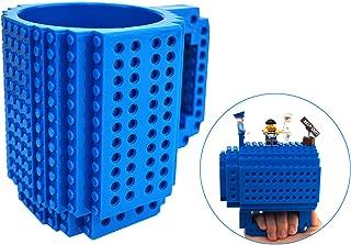 OSOPOLA Build-On Brick Mug Coffee Cup DIY Type Plastic Creative Building Blocks Coffee Tea Beverage Drinking Funny Gift(12oz Blue Mug)