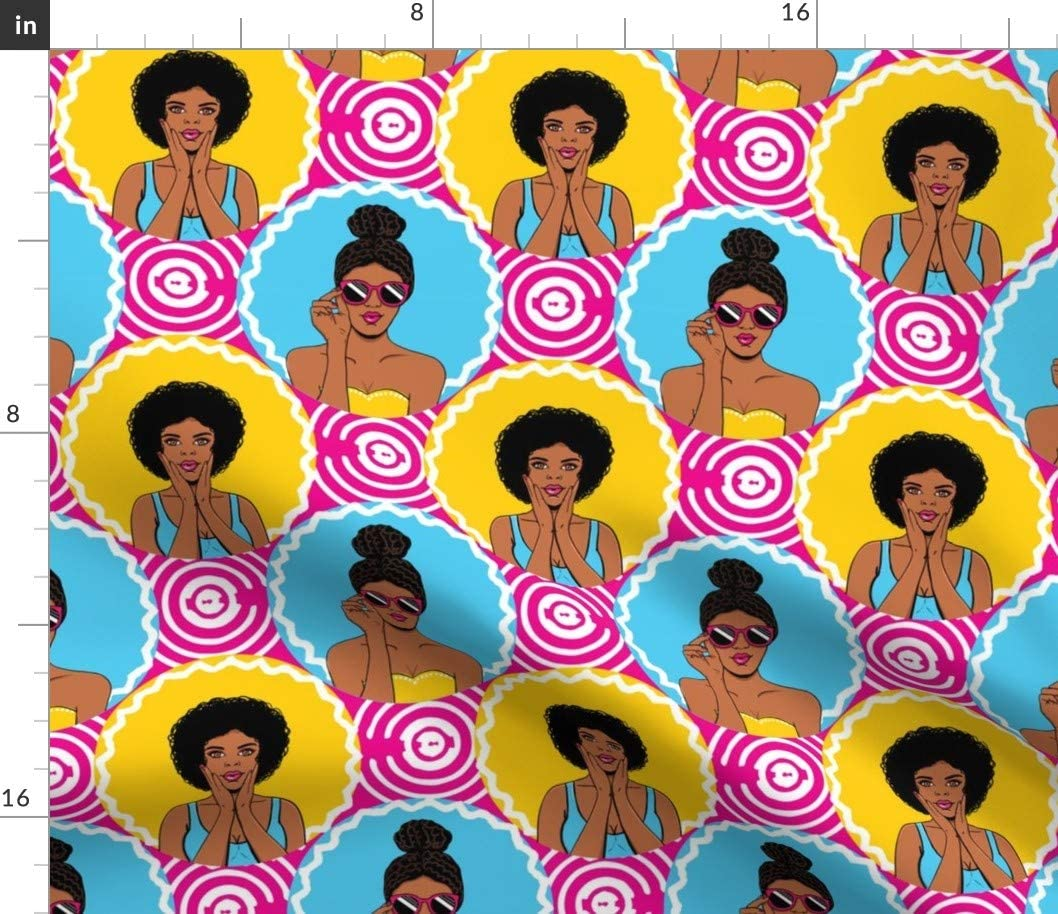 Spoonflower Fabric Quantity limited - African American Pop Retro Girls Funky New Orleans Mall Art