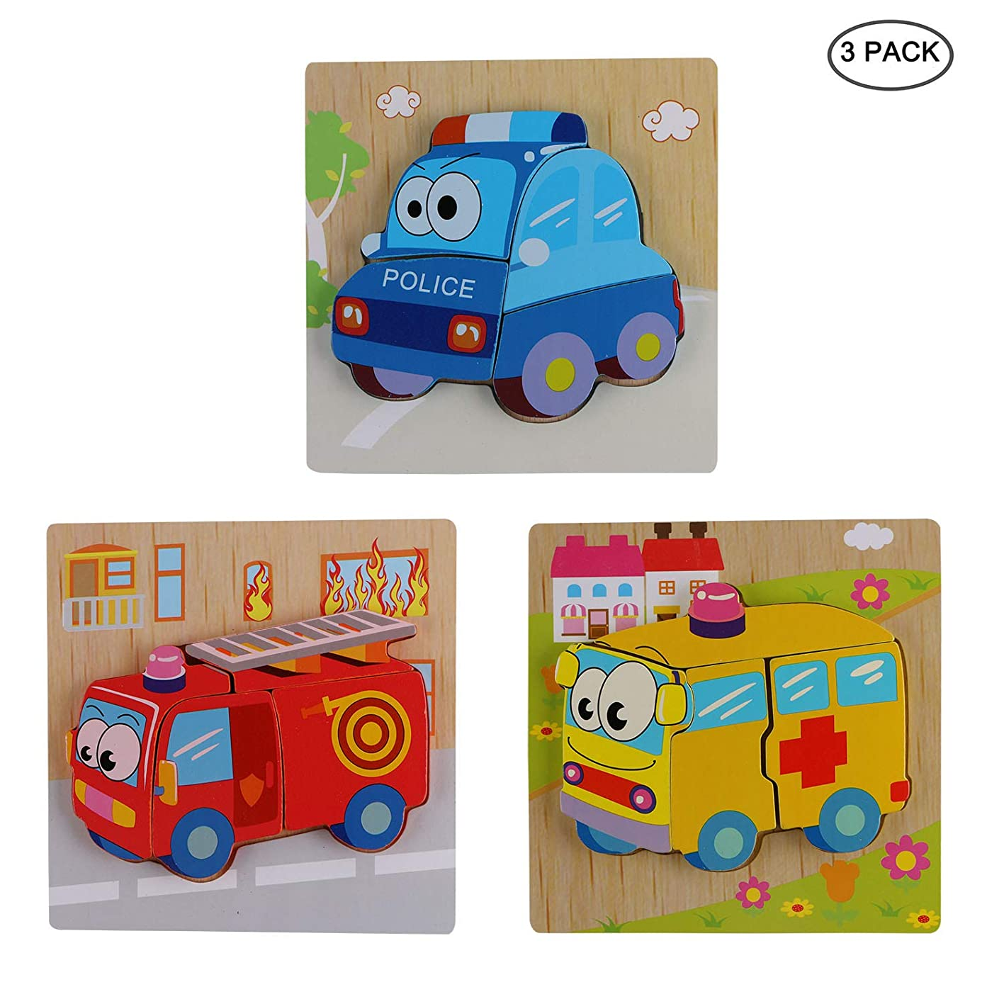 CABAX Wooden Animal Vehicles Jigsaw Puzzles for Toddlers 1 2 3 4 5 Years Old, Boys & Girls Educational Toys Gift with 3 Patterns, Bright Vibrant Color Shapes-Vehicle StyleB fvmjxunoifm207