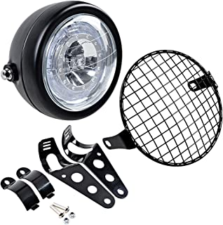 Completed Set 6 1/2 LED Headlight with Halo Ring + Mesh Grill Cover + Side Mount Bracket