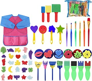 DAYONG 52pcs Painting Kits for Kids Early Learning Kids Paint Set,Sponge Drawing Shapes Paint Craft Brushes for Toddlers A...