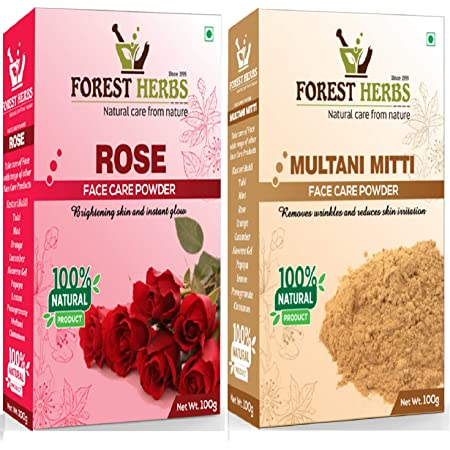 Forest Herbs 100% Organic Pure & Natural Double Filtered Rose Petal Powder For Skin, Face Pack Mask for Fairness, Tanning & Glowing Skin, 100gm