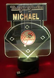 NY Yankees Baseball Mirror New York Stadium Light Lamp LED Remote Personalized Table Lamp, Our Newest Feature - It's Wow, with Remote 16 Color Options, Dimmer, Free Engraved Great Gift