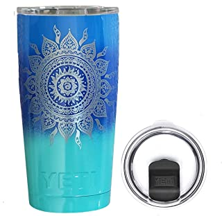 YETI Coolers 20 Ounce (20oz) (20 oz) Custom Powder Coated Insulated Stainless Steel Rambler Tumbler Travel Cup Mug with New Magslider Spill Proof Lid (Tri Color Engraved Sun)