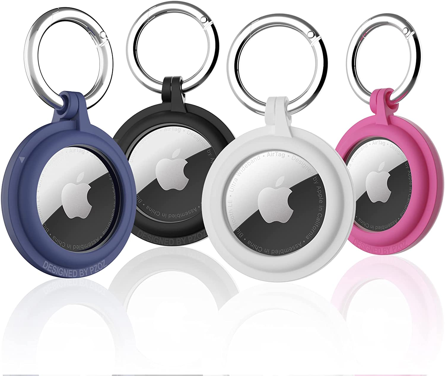 PZOZ (4 Pack) AirTag Case Keychain Built-in Screen Protector Holder Compatible with Apple AirTag, Hard Plastic Anti-Lost Cover Accessories, Finder Items for Kids Dogs Collar Keys Ring(Multi-Color)