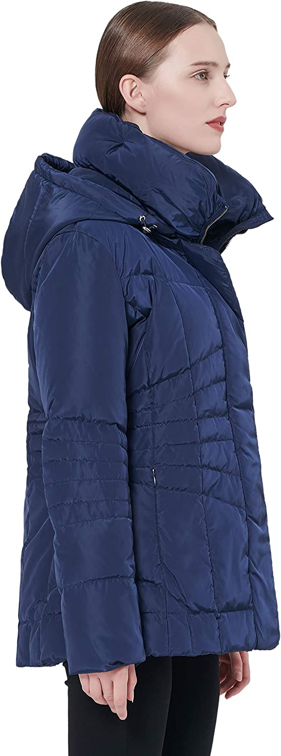 Orolay Womens Hooded Down Jacket Quilted Winter Coat Stand Collar Puffer Jacket