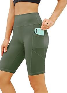 FINETOO High Waist Yoga Shorts for Women with Pockets Workout Shorts Leggings Sports Biker Shorts
