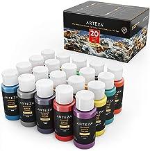 ARTEZA Outdoor Acrylic Paint, Set of 20 Colors/Tubes (59 Ml, 2 Oz.) with Storage Box, Rich Pigments, Multi-Surface Paints ...