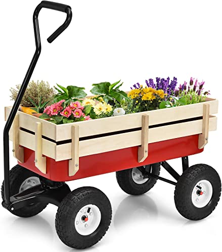 lowest Giantex All Terrain Cargo sale Wagon Wood Railing outlet sale Kids Children Garden Air Tires Outdoor Red outlet online sale