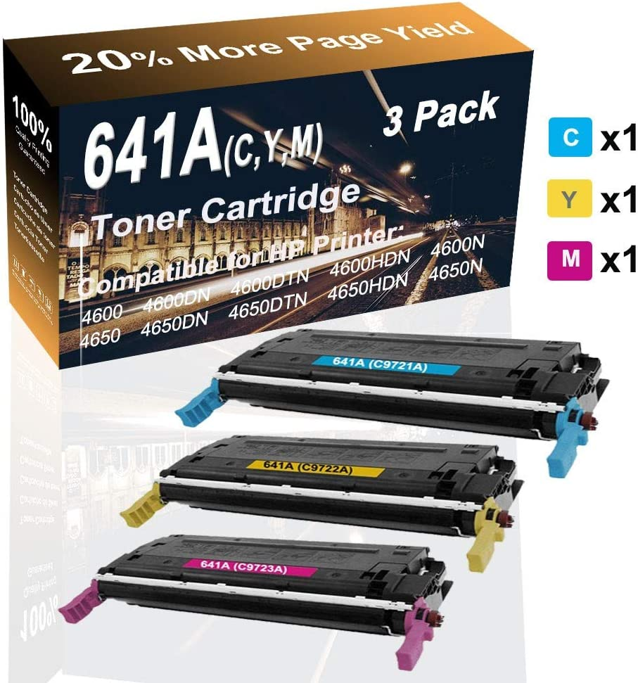 3-Pack (C+Y+M) Compatible High Capacity 641A (C9721A C9722A C9723A) Toner Cartridge use for HP 4650dn 4650dtn 4650hdn Printer