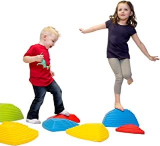 JumpOff Jo Rocksteady Balance Stepping Stones for Kids - Set of 6 Balance Blocks (3 Sizes Included, 2 Small, 2 Large, 2 Extra Large) - Promotes Balance & Coordination
