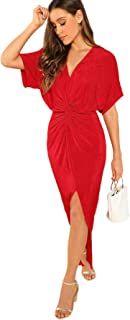 Women's Twist Front Deep V Neck Split Hem Glitter Party Cocktail Dress