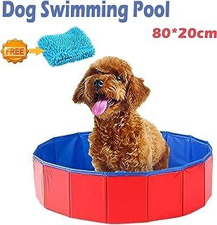 xuehaostore Piscina para Perros Plegable, Bañera para Perros Gatos, Natacion Mascotas-Rojo (80 * 20cm)