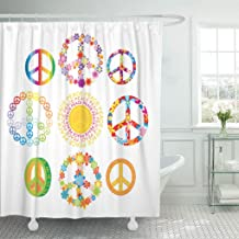 Jszna Shower Curtain Red Blue Sign of Peace Symbols Orange Flower Yellow Shower Curtains Sets with 12 Hooks 72 x 72 Inches Waterproof Polyester Fabric