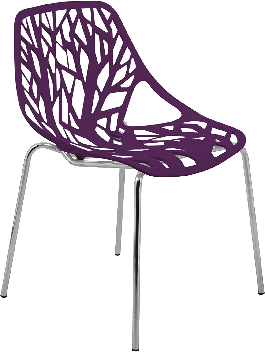 LeisureMod Forest Modern Side Dining Chair with Chromed Legs (Purple)