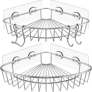 WJ ideal 2 Pack Corner Shower Caddy - SUS304 Stainless Steel Corner Bathroom Shelf with Adhesive, 2 Hooks for Razor No Dri...