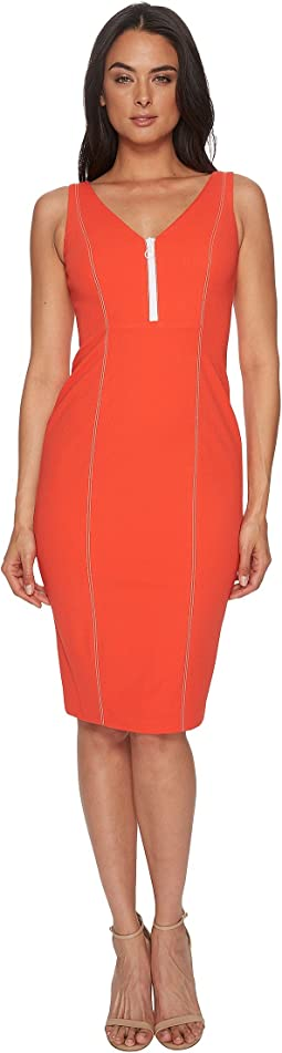 Donna Morgan - Sleeveless Crepe V-Neck Dress with Front Zipper