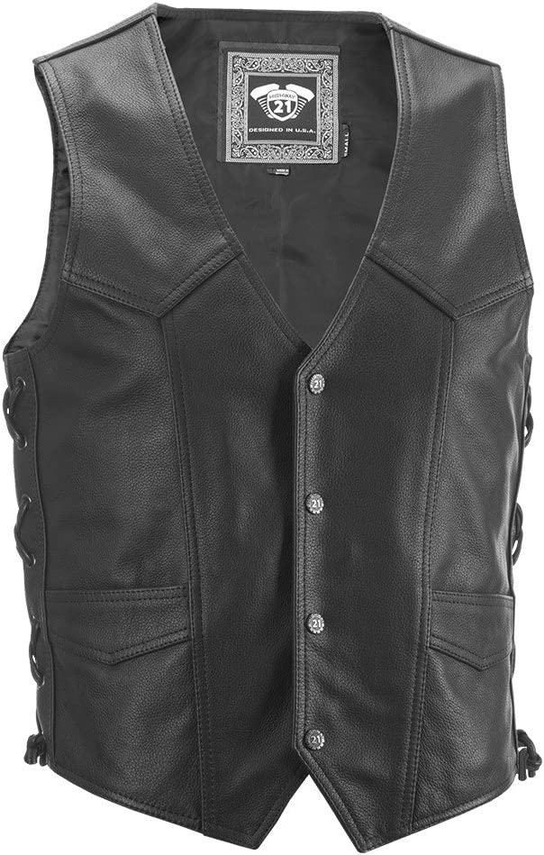 Highway 21 Six Shooter Men's Leather Motorcycle Vest W/Concealed Carry Pocket Black Size Small