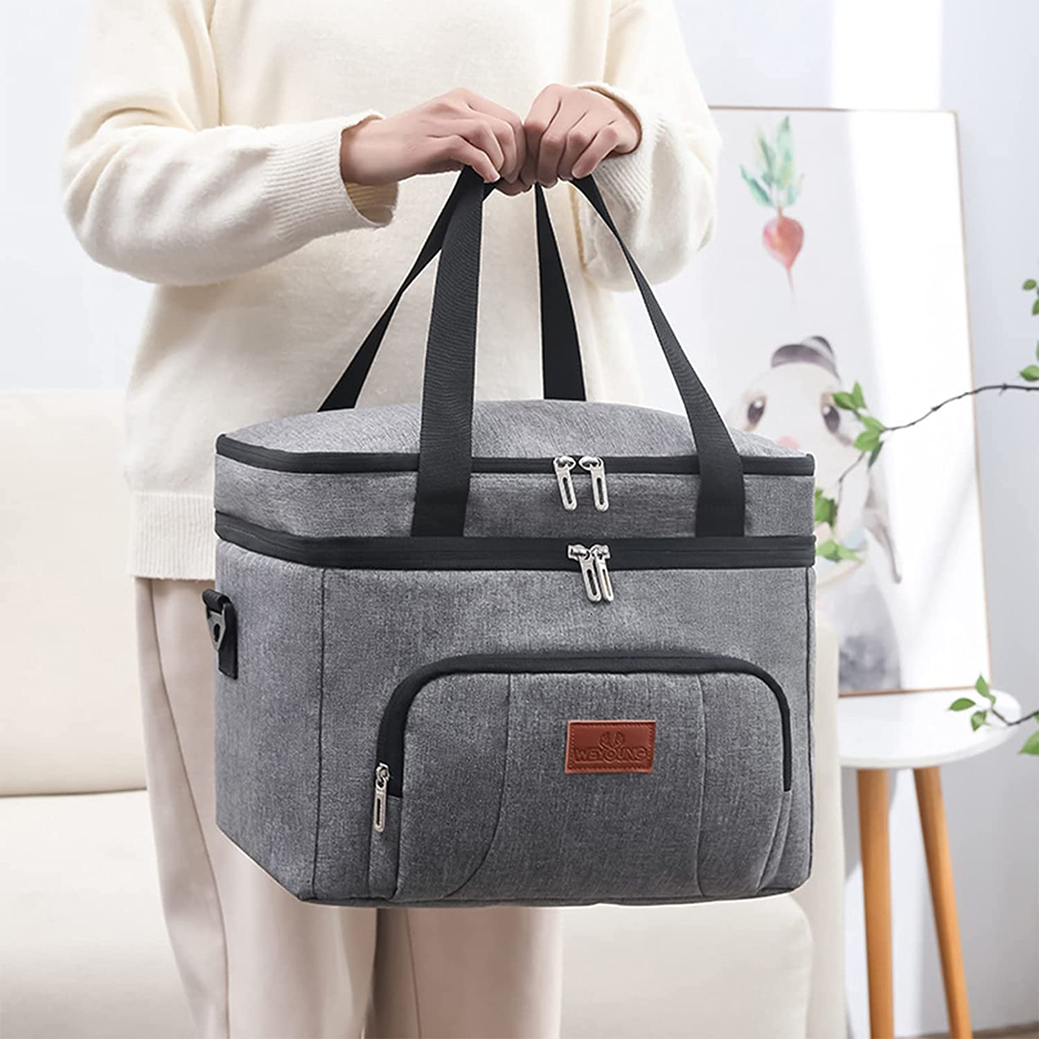 Insulated Lunch Bags for Women/Men Double Layer Cooler Insulated lunchbox Reusable Large Capacity with Space for More Meals and Snacks for School Office Picnic Hiking Beach