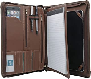 Zipper Leather Padfolio, Business Organizer Portfolio with Handle for iPad 10.2-inch/ 11-inch/ 10.5