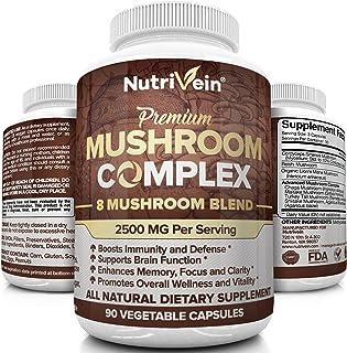 Nutrivein Mushroom Supplement 1900mg - 90 Capsules - 7 Blend Lions Mane, Cordyceps, Chaga, Reishi, Turkey Tail, Maitake, S...