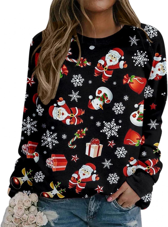 Sweatshirts for Women Christmas Reindeer Printed Long Sleeve Pullover Shirts Comfy Loose Hoodie Tops