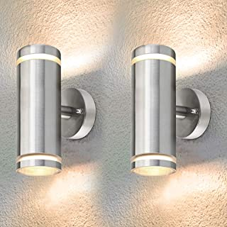 2 x Exterior Outdoor Up Down Wall Light IP65 Transparent Diffuser Stainless Steel ZLC308-F Use with LED GU10 Bulb Only