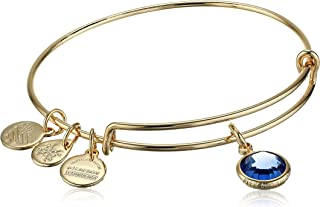 Women's Swarovski Color Code Bangle September Sapphire Bracelet, Shiny Gold, Expandable