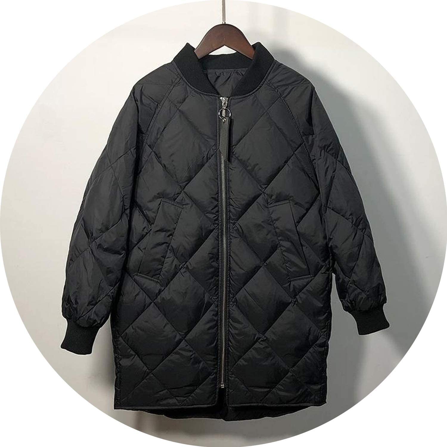 100Expectations winter coat Light Down Jackets 90% White Duck Down Loose Fit Parkas Medium Long Warm Snow Overcoats