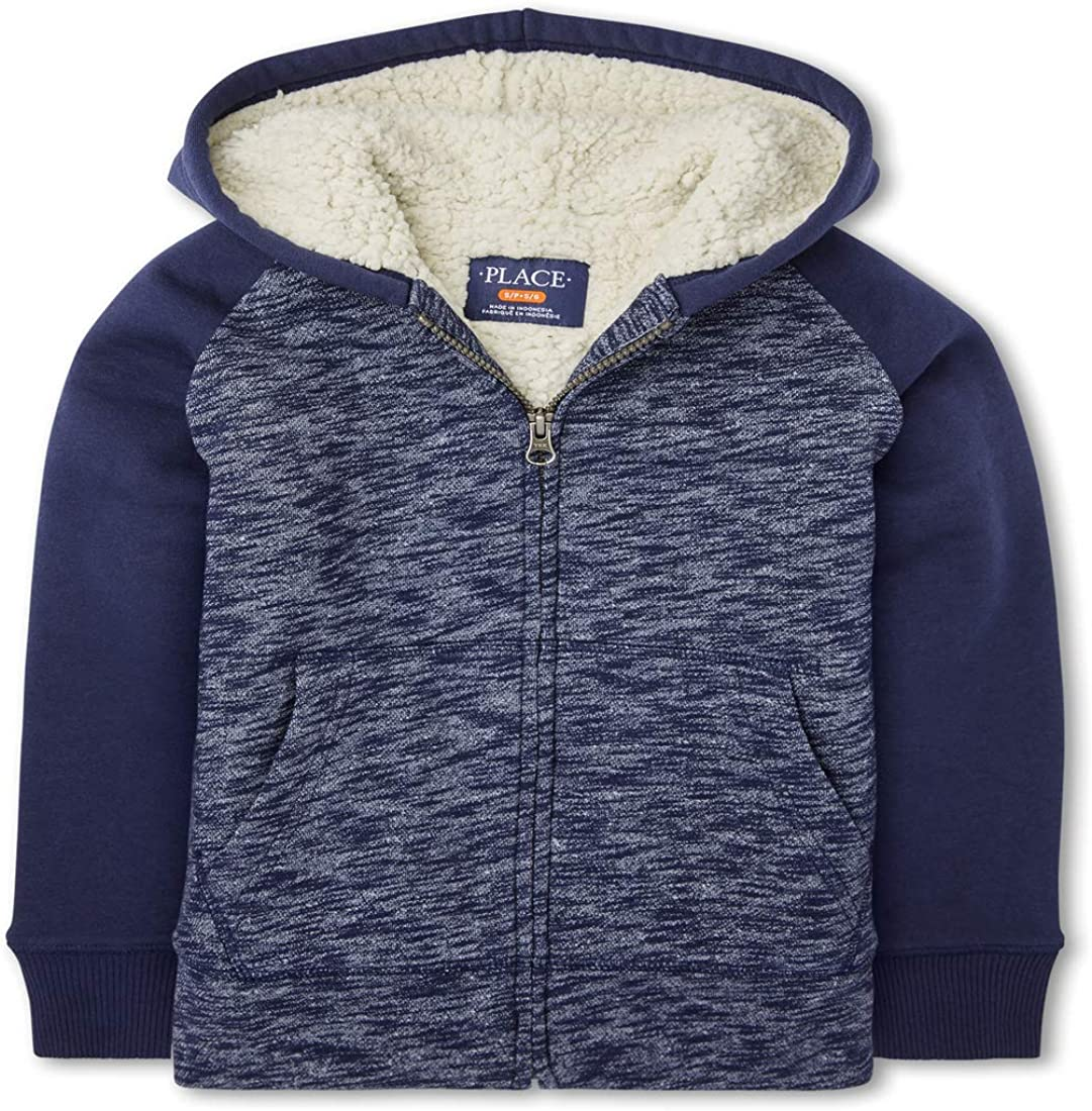 The Children's Place Boys' Marled Sherpa Fleece Zip Up Hoodie