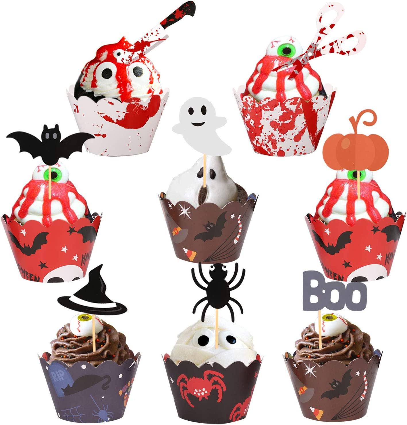 Konsait 48pcs Halloween Cupcake Toppers Wrappers - Spider Web Pumpkin Zombie Hand picks Food Decor Cake Party Haunted Hosed Halloween Birthday Party Centerpiece Decorations Supplies
