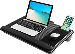 Lightweight Lap Desk Laptop Tray with Pillow Cushion, Lap Stand with Built-in Mouse Pad/Wrist Rest/Phone Slot, Laptop Size...