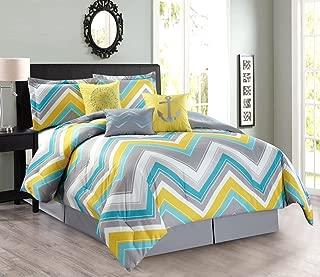 7-Piece Oversize CHEVRON ZIGZAG Designer Nautical Anchor Comforter Set (California) Cal King Size Bedding With Decorative Pillows (Turquoise Blue, Yellow, Grey)