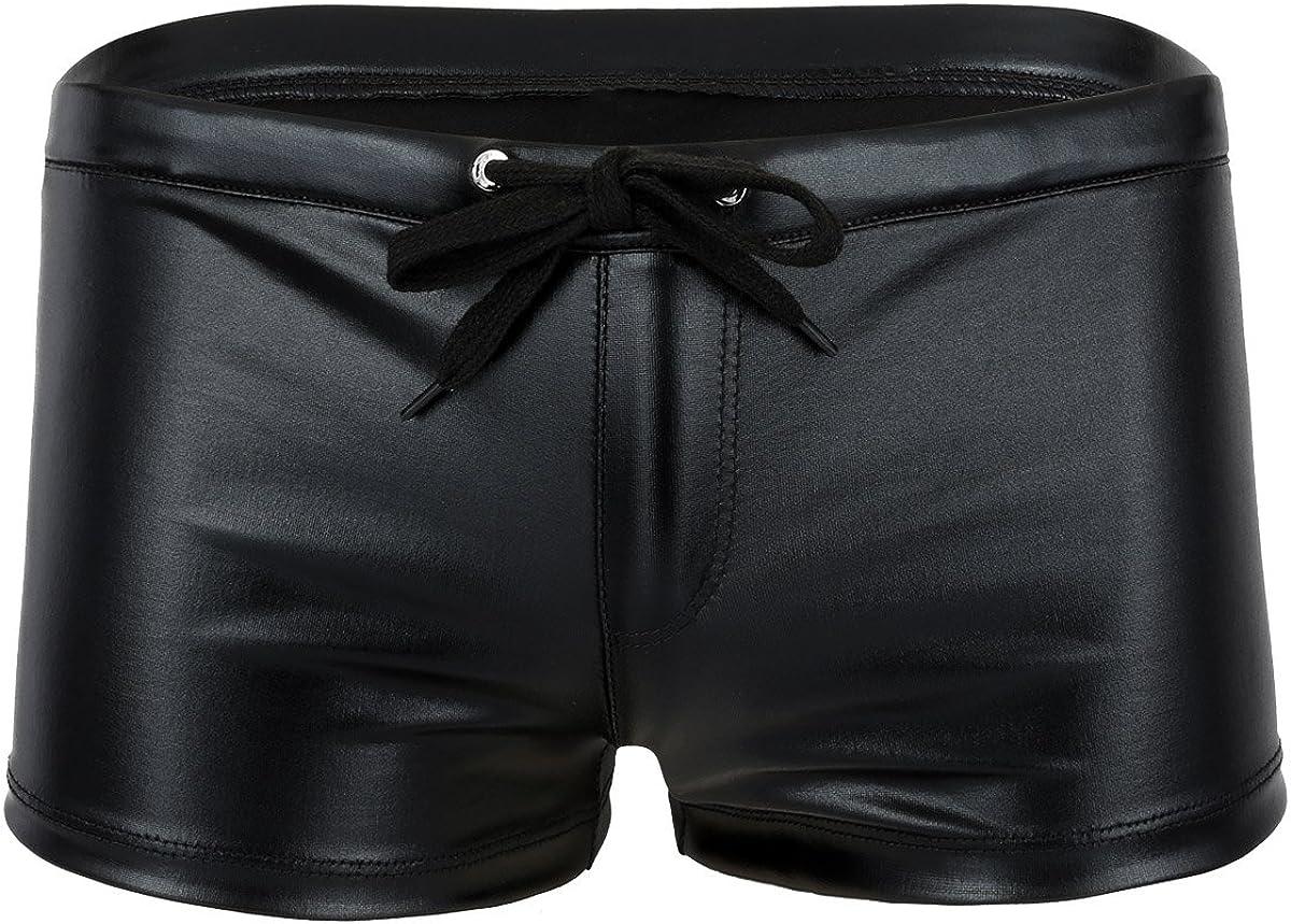 Inexpensive Freebily Men's Wetlook Patent Leather Drawstring Boxer Sho Brief Ranking TOP15