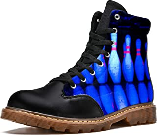 LORVIES Bowling Couleur foncée Bottes d'hiver Chaussures Montantes en Toile à Lacets pour Hommes