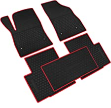 iallauto All Weather Floor Liners Custom Fit for Chevrolet Cruze Chevy 2017 2018 2019 Heavy Duty Rubber Car Mats Vehicle Carpet Odorless-Black Red