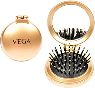 VEGA Compact Hair Brush with Foldable Mirror, (R2-FM), Color may vary
