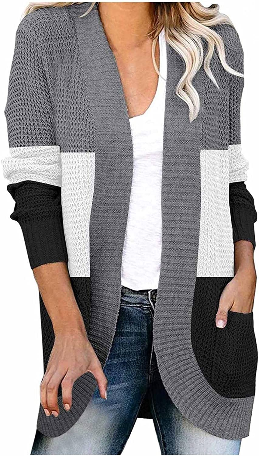 Aniwood Sweaters for Women Cardigan Open Front, Women's Long Sleeve Color Knit Cardigan Sweater Outerwear with Pockets