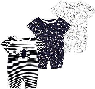 Bebé Manga Corta Mameluco 3 Paquetes, Mono de Verano Niños Niñas Pijama Algodón Infantil Mono