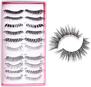 URBANMAC 10 Pairs Mixed Style Multipack False Eyelash 3D Soft Mink Eyelashes Long False Eyelashes Natural Eye Makeup Eye Lashes (Black)