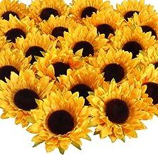 HUAESIN 24pcs Kunstblumen Köpfe 9cm Sonnenblumen Künstliche Blütenköpfe Seiden Blumenköpfe Unechte Künstliche Blumen Klein Plastikblume Dekor für DIY Hochzeit Party Tisch(gelb)
