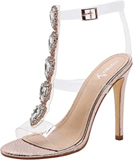 vivianly Women Clear High Heels Gladiator Stiletto Transparent Strip Open Toe Ankle Strap Buckle with Rhinestones Gold Size: 6