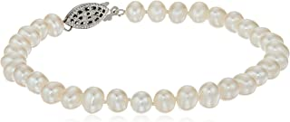 """Sterling Silver White Freshwater Cultured A Quality Pearl Bracelet (5.5-6mm), 7.25"""""""