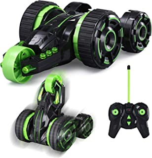 Remote Control Car w/LED Light RC Stunt Car for Kids 5 Wheel Off Road Car 2.4GHz High Speed Racing 5WD Vehicle 360°Rotating Electronic Race Car Boys Girls Children Gifts,Green(Battery Included)